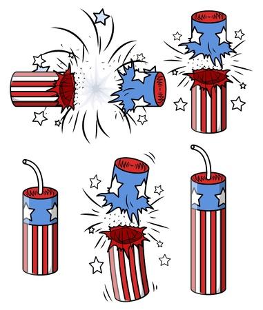 contaminacion acustica: varios petardos - 04 de julio de ilustración vectorial Vectores