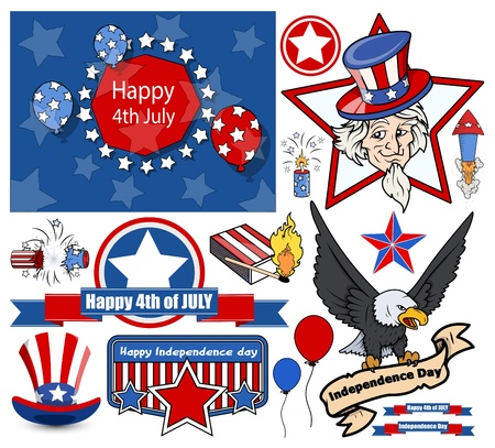 happy 4th of July - Vector Designs Set Vector