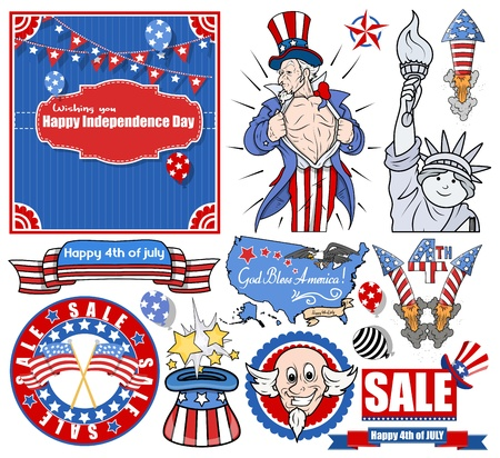 Various Independence day vectors set Vector