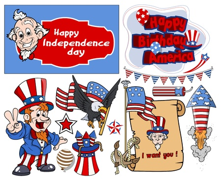 i want you: various 4th of july vector designs set Illustration
