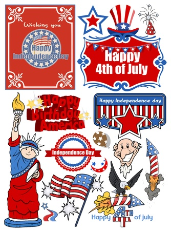 icons and vector set of various America celebration Vector