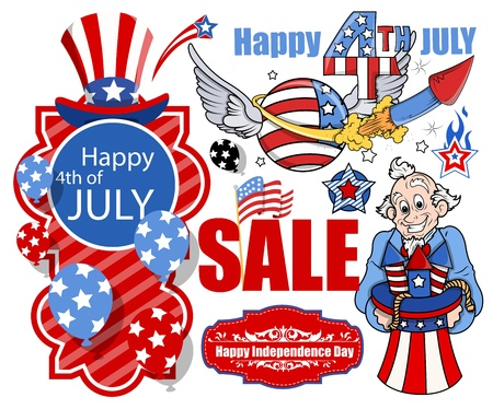 happy 4th of july vector set banners and designs