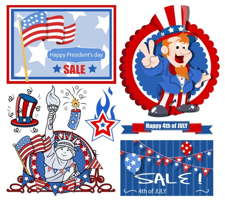 vector designs set for america independence day Vector