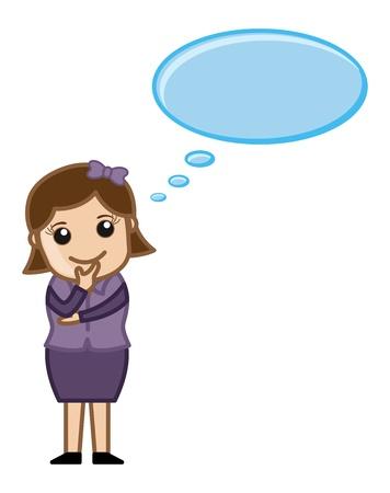 business cartoons: Mujer de pensamiento - pensamiento Bubble - Dibujos animados de negocios Vectores