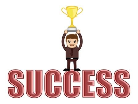 business cartoons: �xito alcanzado - Dibujos animados de negocios Vectores Vectores