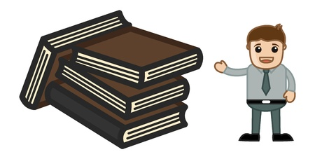 Lots of Books - Physical Books Concept - Business Cartoons Vectors Vector