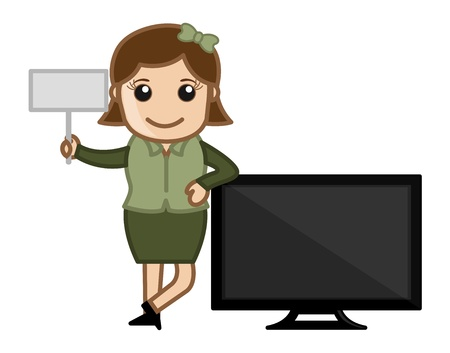 Retro Girl with Modern TV - Business Cartoons Vectors Stock Vector - 22059658