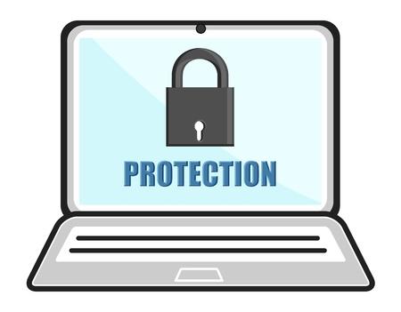 business cartoons: Contrase�a protegida - Laptop cerrado - Dibujos animados de negocios Vectores