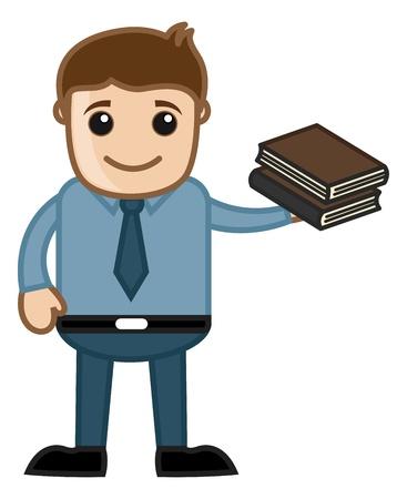 business cartoons: Hombre que sostiene dos libros - Dibujos animados de negocios Vectores Vectores
