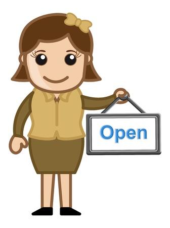 business cartoons: Abrir Junta en una se�ora mano Retro - Dibujos animados de negocios Vectores