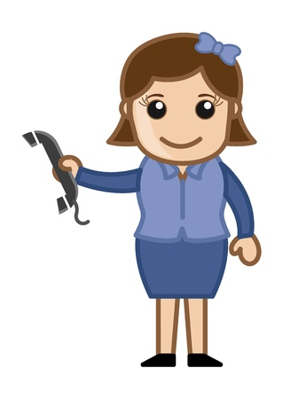 Woman Holding a Phone Receiver - Business Cartoons Vectors Vector
