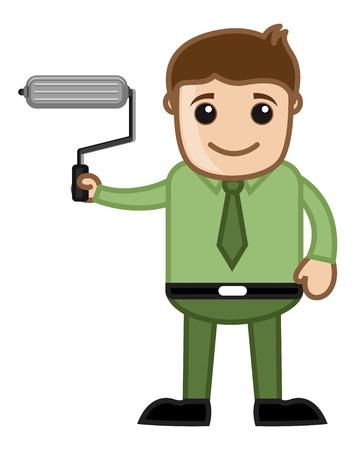 farbrolle: Mann, der einen Farbroller - Erneuern Konzept - Business-Cartoons Vektoren