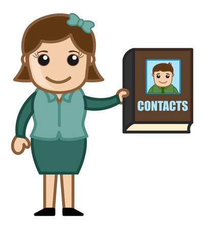 business cartoons: Mujer que sostiene un directorio de contactos - Dibujos animados de negocios Vectores