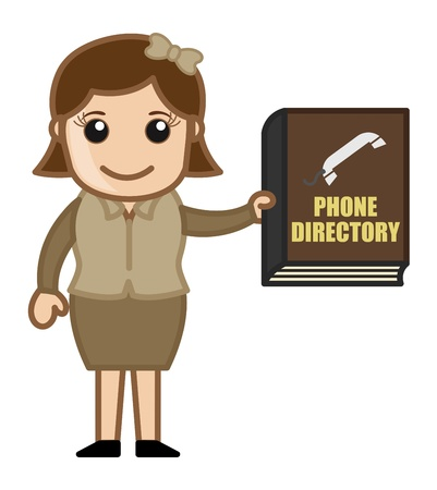 directory: Woman Holding Phone Directory - Business Cartoons Vectors Illustration