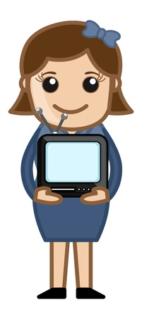 Woman Holding Small Portable TV - Business Cartoons Vectors Stock Vector - 22067982