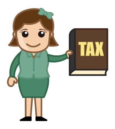libro caricatura: Pague su impuesto - saber - Dibujos animados de negocios Vectores