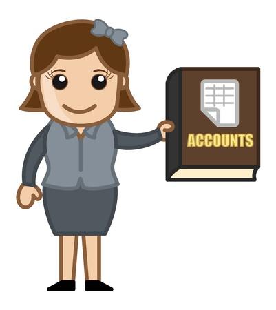 business cartoons: Cuentas Libro - Dibujos animados de negocios Vectores Vectores