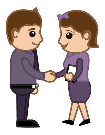 business cartoons: Socios de Negocios - Business Cartoons Vectores Vectores