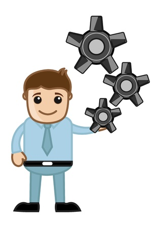 Gear - Process - Business Cartoons Vectors Vector