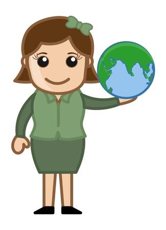 business cartoons: La celebraci�n de un globo - Dibujos animados de negocios Vectores Vectores