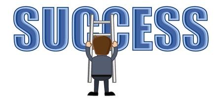 business cartoons: Hombre que sube en la escala �xito - Dibujos animados de negocios Vectores Vectores