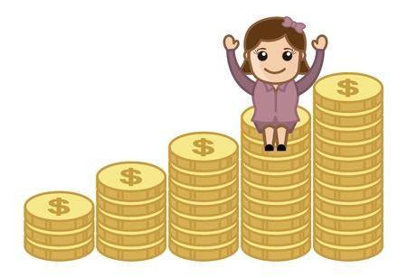Wealth - Earn Money Concept - Business Cartoons Vectors Vector