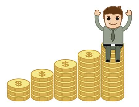 business cartoons: Beneficio secretos Concept - Dibujos animados de negocios Vectores Vectores