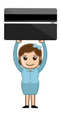 woman credit card: Woman Holding Credit Card - Plastic Money Concept - Business Cartoons Vectors