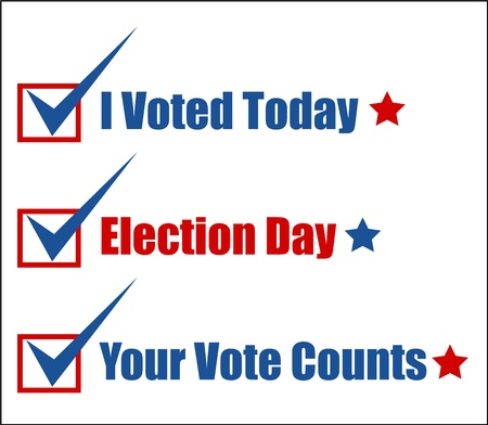 governor: various voting text lines - Election Day Vector Illustration