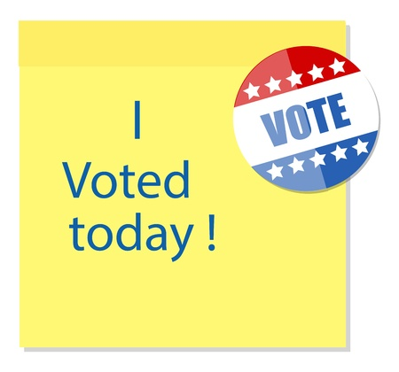 voted: i voted today - written on sticky note with a glossy badge vector Illustration