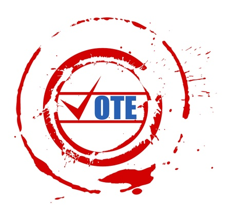 voting rights: Vote - Grunge Old Stamp - Election Day Vector Illustration