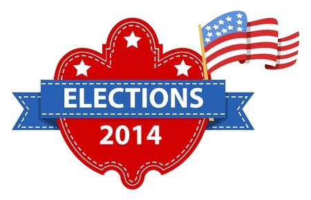 estados unidos bandera: etiqueta vector d�a de las elecciones con la bandera EE.UU. Vectores