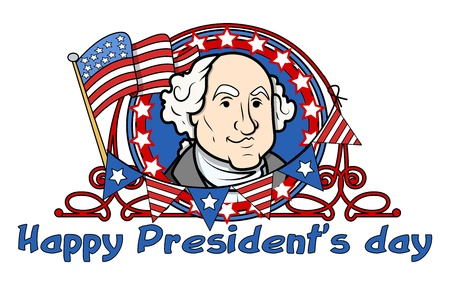 Showing George Washington on - Presidents Day Vector Illustration Vector