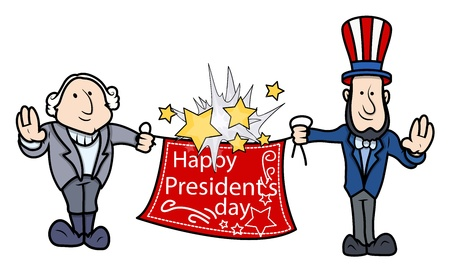george washington: George Washington   Abraham Lincoln Greets - Presidents Day Vector Illustration Illustration