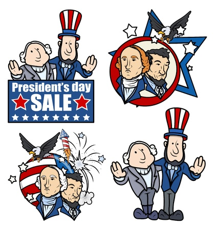 lincoln: Washington   Lincoln - Presidents Day - Cartoons and Clip-Art Illustration
