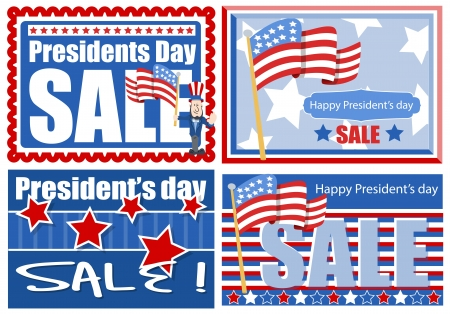 Presidents Day Sale Banner and Backgrounds Vector