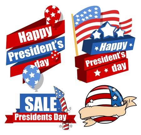 Decorative Modern United States National Holidays - Presidents Day Vector Set Stock Vector - 22068033