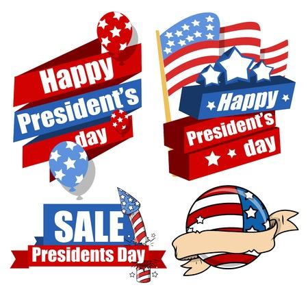 president's: Decorative Modern United States National Holidays - Presidents Day Vector Set