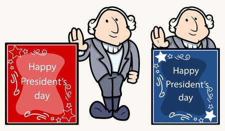 george washington: Happy Presidents Day Banner - George Washington Cartoon Clip-art