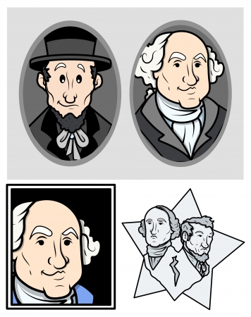 George Washington   Abraham Lincoln Clip-Art Cartoon Vector Vector