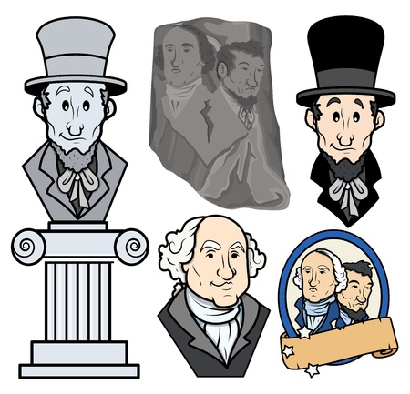 USA Presidents George Washington   Abraham Lincoln Clip-Art Cartoon Vector