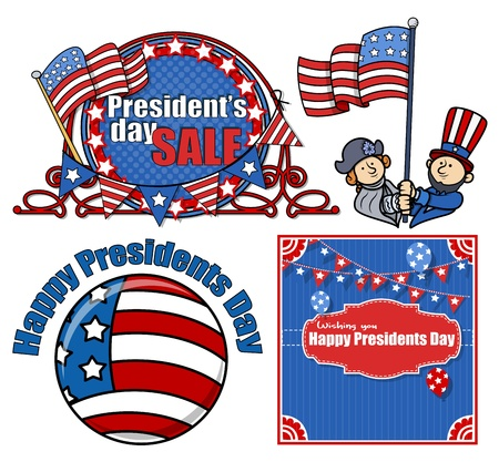 Happy Presidents Day Vector Set Vector