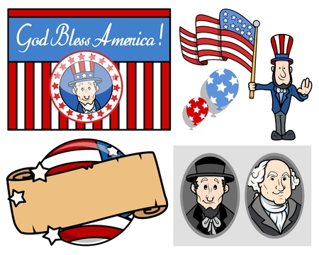 lincoln: USA National Holiday Presidents Day Vector Set