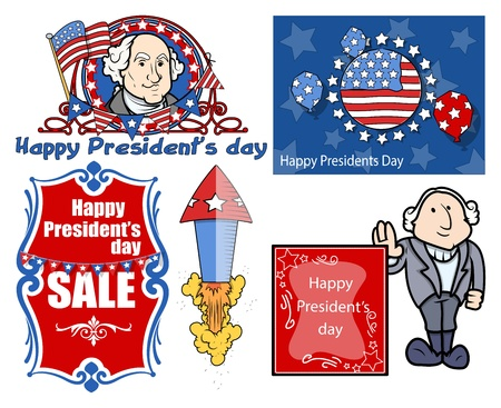Presidents Day Vector Illustration Set Vector