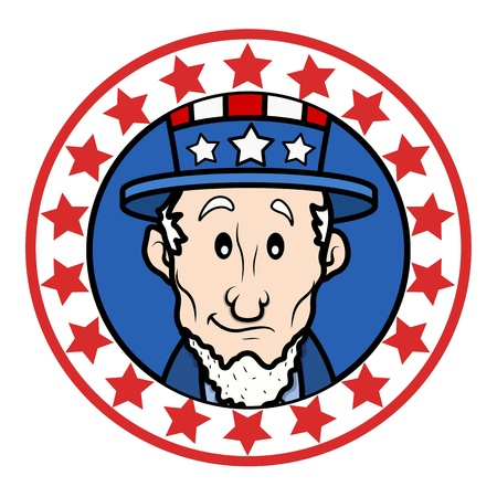 lincoln: Patriotic USA Theme Circular Design with Abraham Lincoln Wearing Uncle Sam Hat Vector Illustration
