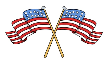governor: Crossed Flags of USA Vector