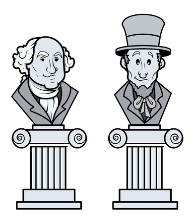 abraham lincoln: Sculpture of Abraham Lincoln and George Washington Vector Clip-Art