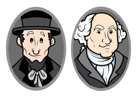 george washington: Illustrated Vector Portrait of George Washington and Abraham Lincoln