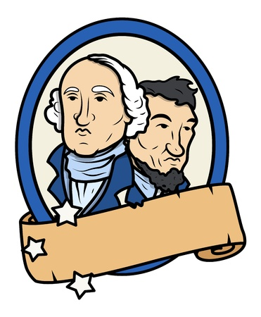 Lincoln and Washington Together Vector Design with a Blank Old Scroll Banner Vector