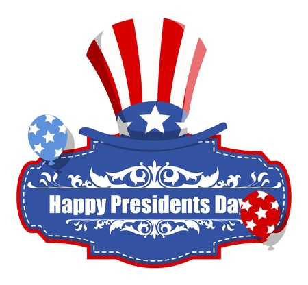 Happy Presidents Day Badge with Uncle Sam Hat - USA Theme Vector